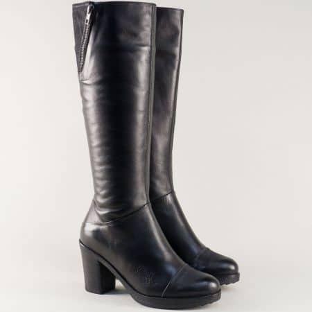 Кожени дамски ботуши в черен цвят и цип на висок ток  capri63ch