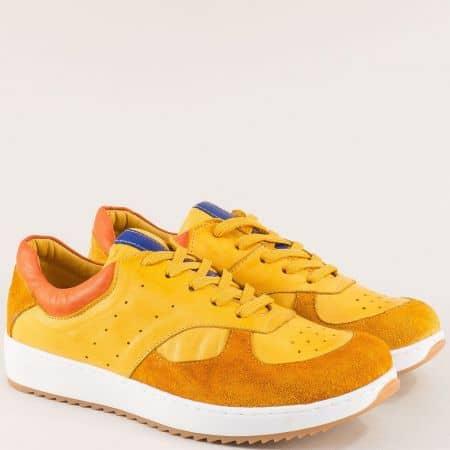 Жълти дамски обувки с връзки от естествен велур и кожа ceo01o