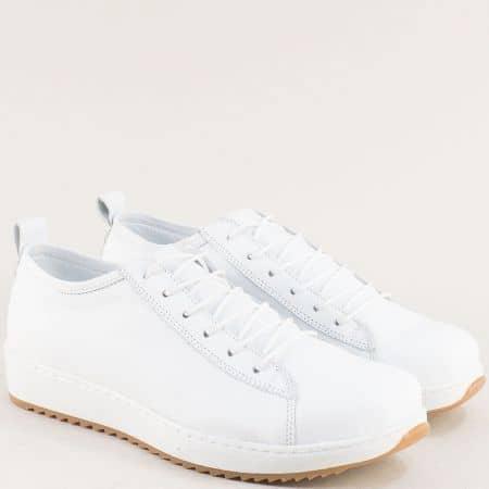 Бели дамски обувки с мека стелка от естествена кожа ceo23b