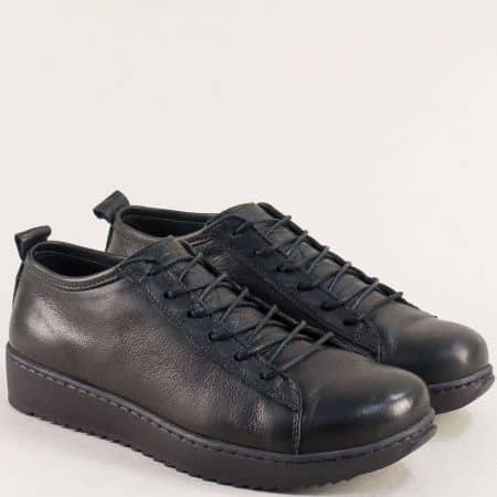 Дамски спортни обувки от естествена кожа отвън и отвътре в черен цвят ceo23ch