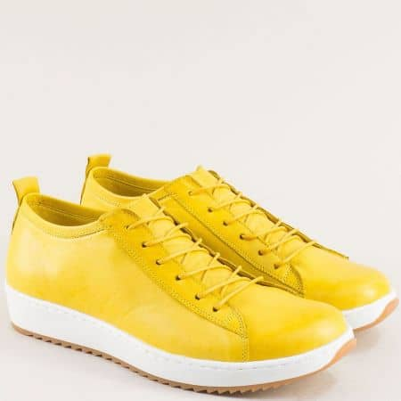 Жълти дамски обувки от естествена кожа и естествен хастар на равно ходило ceo23j