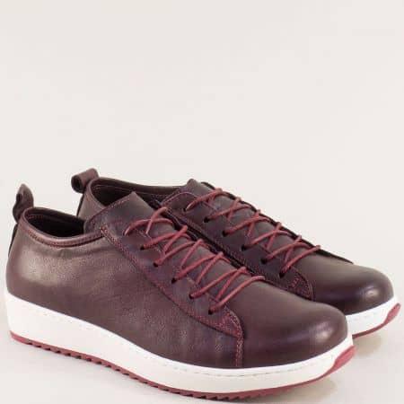 Кожени дамски обувки в лилаво със стелка от естествена кожа ceo23l