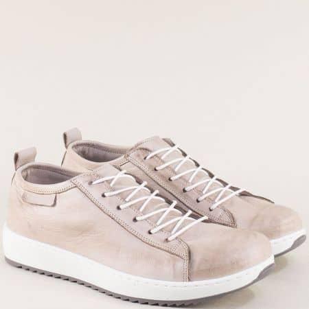 Сиви дамски обувки на равно ходило от естествена кожа ceo23sv