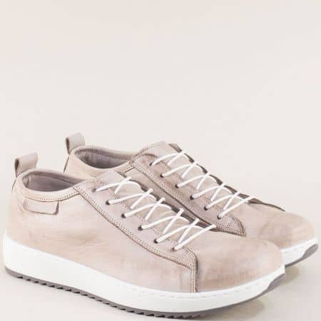 Сиви спортни дамски обувки от естествена кожа ceo23sv
