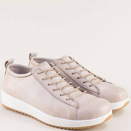 Спортни дамски обувки в сиво от естествена кожа отвън и отвътре ceo23sv1