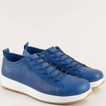Тъмно сини дамски обувки от 100% естествена кожа на комфортно ходило ceo23ts