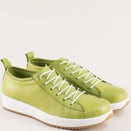 Зелени дамски обувки на равно ходило от естествена кожа и естествен хастар ceo23z