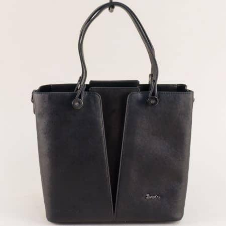 Черна дамска чанта с две къси и допълнителна дълга дръжка ch020ch