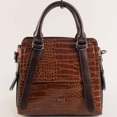 Кафява дамска чанта с кроко принт и три прегради ch030k