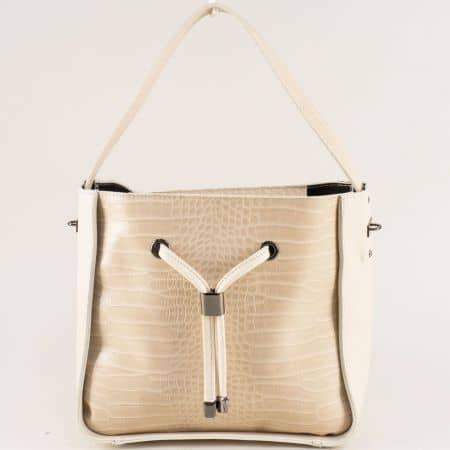 Дамска чанта с кроко принт и органайзер в бежов цвят ch0402bj