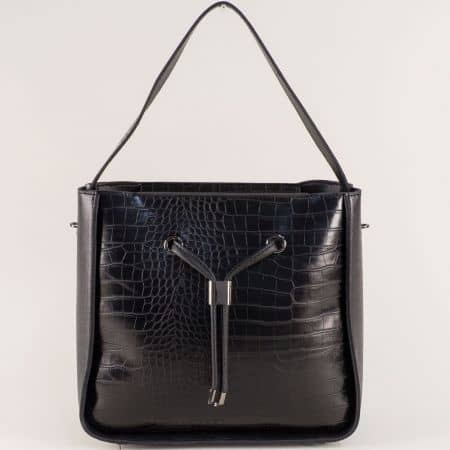 Черна дамска чанта с кроко принт и органайзер ch0402ch