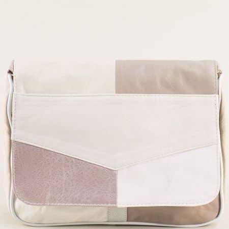 Дамска чанта в бяло, бежово, розово, кафяво и сиво с дълга дръжка ch0404bjps