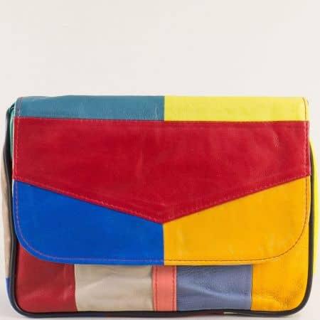 Кожена дамска чанта в жълто, бежово, червено, синьо и зелено ch0404ps