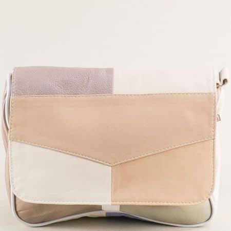 Дамска чанта от естествена кожа в розово, бяло, кафяво и бежово ch0404ps2