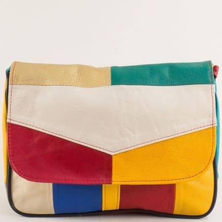 Дамска чанта в жълто, зелено, червено, бяло, синьо и бежово ch0404ps3