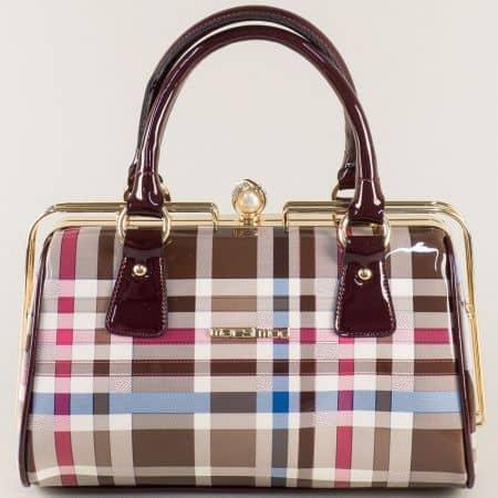Дамска чанта в кафяво, бордо, бежово, бяло, розово и синьо ch051bdkare