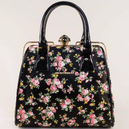 Дамска чанта в черно, розово, бяло, зелено и червено ch052chps