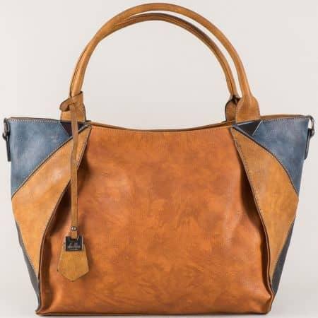 Кафява дамска чанта с къси и допълнителна дълга дръжка ch0599k