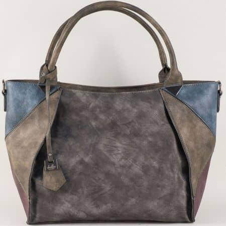 Ежедневна дамска чанта в тъмно кафяво с удобни дръжки ch0599ps