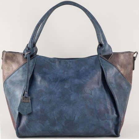 Дамска чанта в синьо с две къси и допълнителна дълга дръжка ch0599s