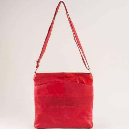 Кожена дамска чанта с дълга дръжка в червен цвят ch081118chv1