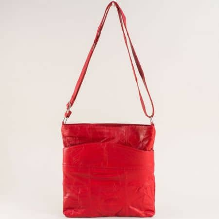 Червена дамска чанта с дълга дръжка от естествена кожа ch081118chv2