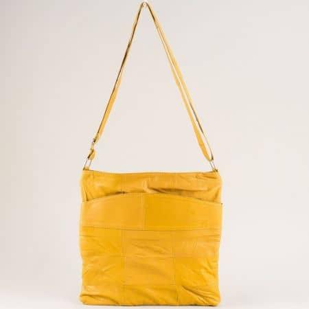 Жълта дамска чанта от естествена кожа с три прегради ch081118j