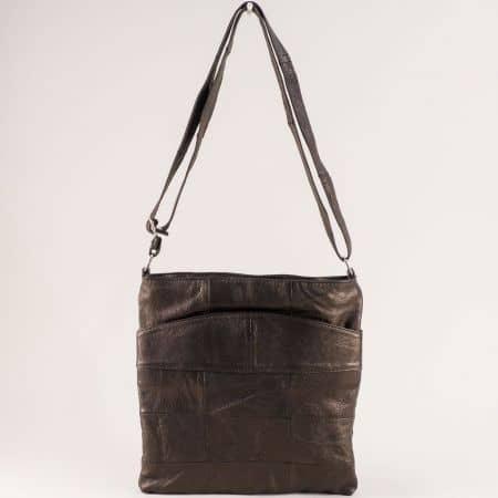 Дамска чанта от естествена кожа в тъмно кафяво ch081118k1