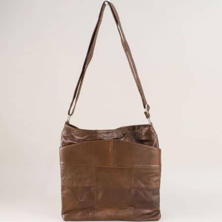 Тъмно кафява дамска чанта от естествена кожа ch081118kk