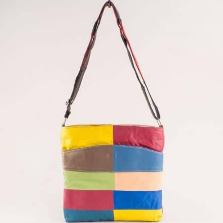 Дамска чанта в синьо, жълто, червено, кафяво и зелено ch081118ps3