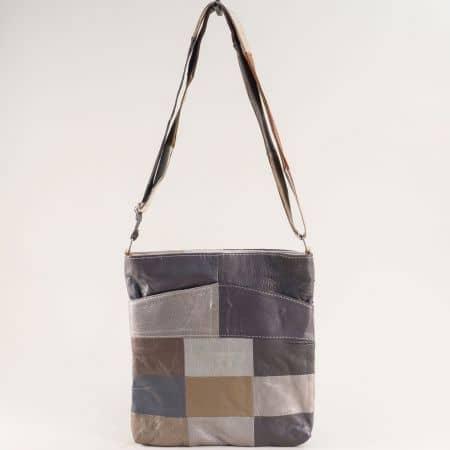 Дамска чанта в кафяво, бежово и сиво с три прегради ch081118ps4
