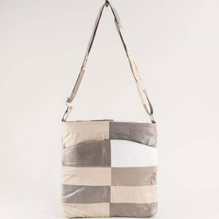 Кожена дамска чанта в бежово, бронз и бяло ch081118ps6