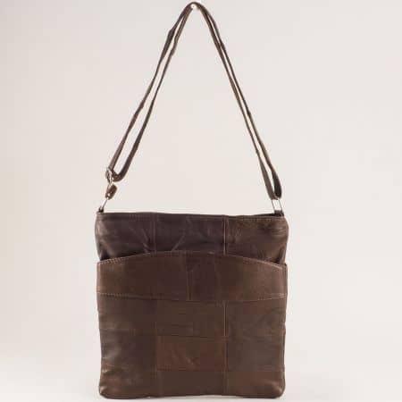 Кожена дамска чанта с три прегради в тъмно кафяво ch081118tk