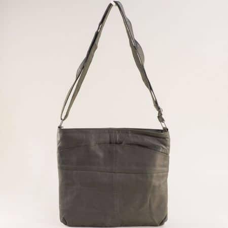 Кожена дамска чанта с три прегради в тъмно сив цвят ch081118tsv