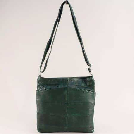 Кожена дамска чанта в тъмно зелено с три прегради ch081118tz1