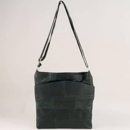 Тъмно зелена дамска чанта от естествена кожа ch081118z