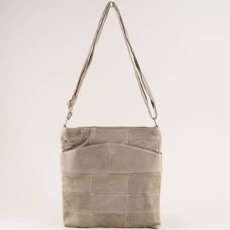 Кожена дамска чанта с дълга дръжка в бежов цвят ch081118z3