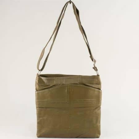 Зелена дамска чанта с дълга дръжка от естествена кожа ch081118z5