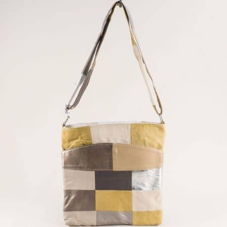 Кожена дамска чанта в бяло, жълто, бежово, сребро и бронз ch081118zps