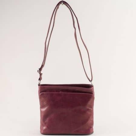 Кожена дамска чанта с три прегради в бордо ch090220bd