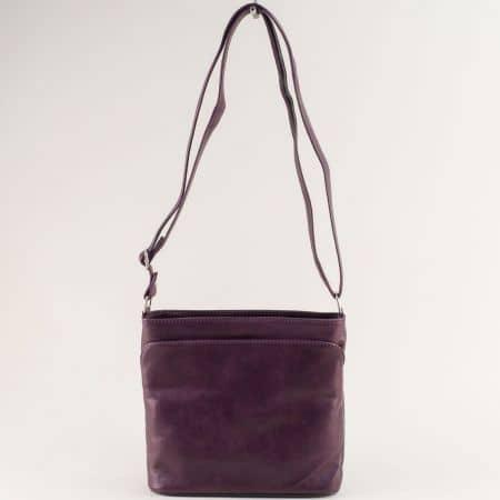Кожена дамска чанта с три прегради в лилаво ch090220l