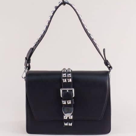 Черна дамска чанта с къса, дълга дръжка и декорация ch0942ch