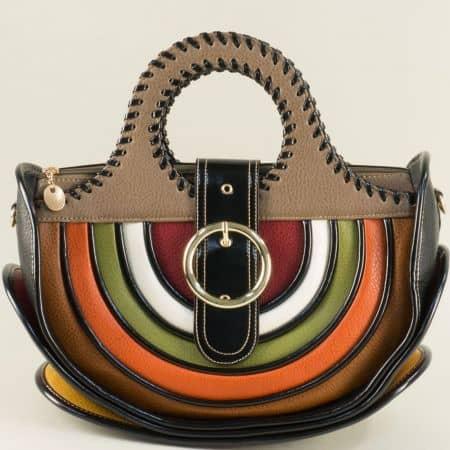 Дамска чанта в кафяво, зелено, черно бяло, зелено и оранж ch1017tbj
