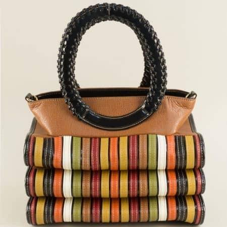 Дамска чанта в кафяво, бордо, бяло, жълто, зелено и черно ch1022k