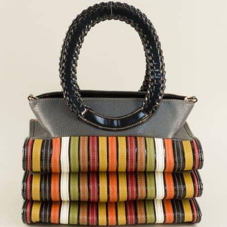 Дамска чанта в сиво, черно, кафяво, зелено, бордо и оранж ch1022sv