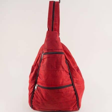 Дамска раница в червен цвят от естествена кожа ch104chv1