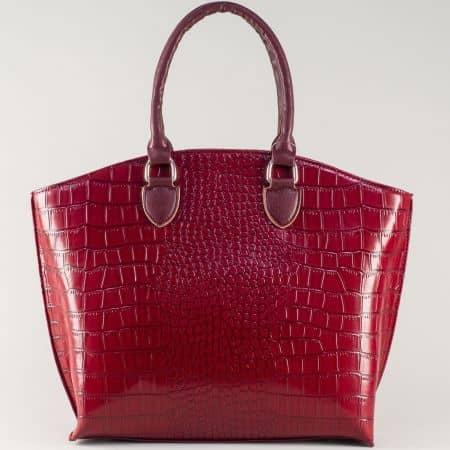 Българска дамска чанта в цвят бордо с две къси и дълга дръжка ch1175krbd