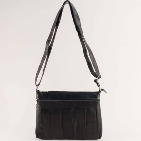 Кожена дамска чанта в черен цвят с три прегради ch120220ch