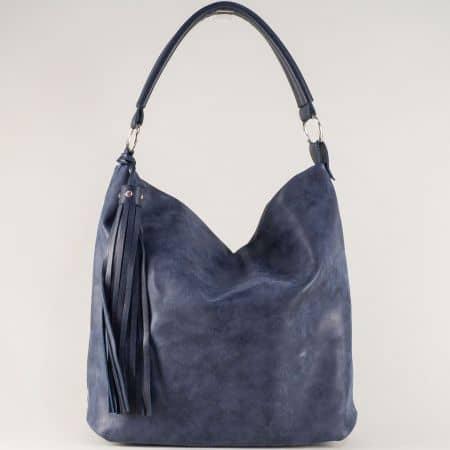 Тъмно синя дамска чанта на български производител ch1205ts