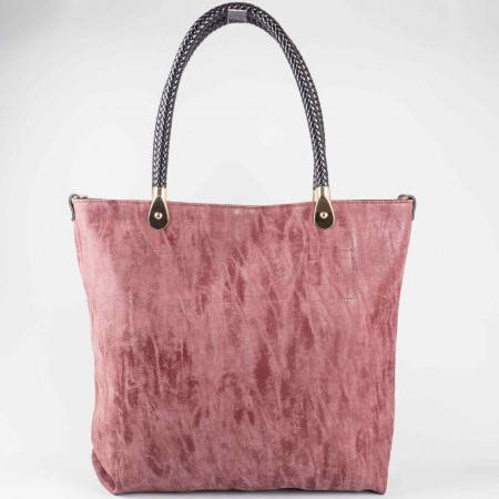 Дамска стилна чанта с трит ефект на български производител в цвят бордо ch1235bd